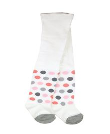 Playette Winter Tights Polka Dots - White & Grey