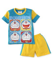 Eteenz Half Sleeves T-Shirt And Shorts Doraemon Face Print - Blue & Yellow
