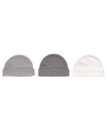 Playette Folded Cuffs Caps Pack Of 3 - Grey & White