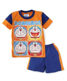 Eteenz Half Sleeves T-Shirt And Shorts Doraemon Face Print - Orange & Blue
