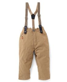 Spark Full Length Pants With Suspenders - Beige