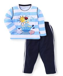 Spark Full Sleeves Stripes T-Shirt And Pants Ahoy Print - Blue & White