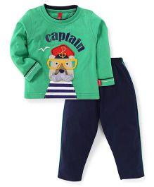 Spark Full Sleeves Captain Print T-Shirt And Leggings - Green & Navy