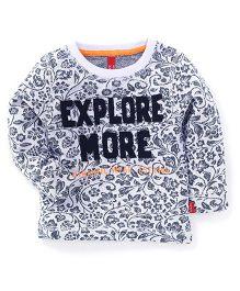 Spark Full Sleeves Printed Sweatshirt - White & Black