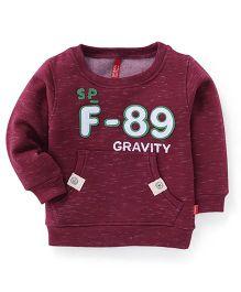 Spark Full Sleeves Gravity Print Sweatshirt - Maroon