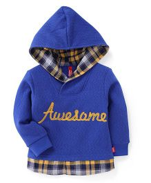 Spark Full Sleeves Hooded Sweatshirt Awesome Print - Blue