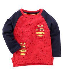 Spark Raglan Sleeves Printed T-Shirt - Red & Navy