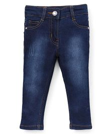 Babyhug Spray Style Elasticated Jeans With Pockets - Blue