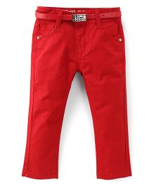 Bambini Kids Stylish Denim Pant With Belt - Red