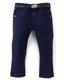 Bambini Kids Stylish Denim Pant With Belt - Navy Blue