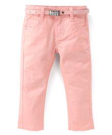 Bambini Kids Stylish Denim Pant With Belt - Pink