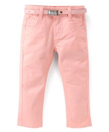 Bambini Kids Stylish Denim Pant With Belt - Pink