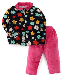 Valentine Full Sleeves Sweatjacket And Pajama Floral Print - Navy Pink