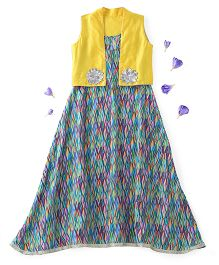 Kids Chakra Sleeveless Aztec Dress With Shrug Flower Appliques - Green Yellow