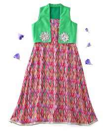 Kids Chakra Sleeveless Aztec Dress With Shrug Flower Appliques - Pink Green