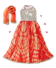 Kids Chakra Halter Neck Choli And Lehenga With Dupatta Sequin Detailing - Orange Silver