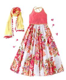 Kids Chakra Halter Neck Choli And Lehenga With Dupatta Floral Print - Off White Yellow
