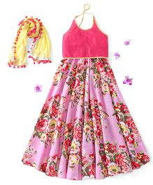 Kids Chakra Halter Neck Choli And Lehenga With Dupatta Floral Print - Light Pink Yellow