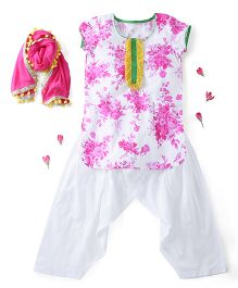 Kids Chakra Short Sleeves Kurti And Patiala With Dupatta Floral Print - Pink White