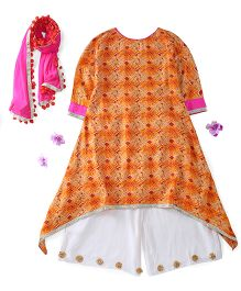 Kids Chakra Full Sleeves Asymmetrical Kurti And Palazo With Dupatta Floral Motifs - Orange White