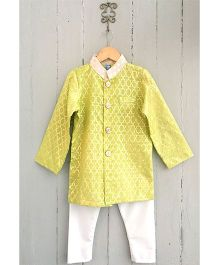 Frangipani Brocade Kurta & Pyjama Set - Yellow And White
