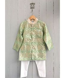 Frangipani Full Sleeves Kurta & Pyjama Set - Green And White