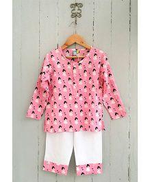 Frangipani Printed Full Sleeves Nightwear Set - Pink And White