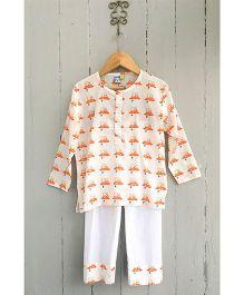 Frangipani Football Print Night Suit - Orange And White