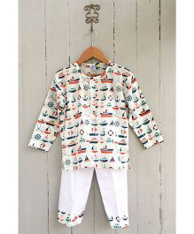 Frangipani Full Sleeves Night Suit Boat Print - Multi Color