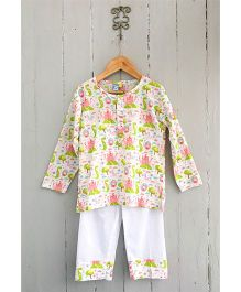 Frangipani Full Sleeves Night Suit Castle Print - Pink Green White