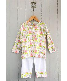 Frangipani Full Sleeves Night Suit Castle Print - Pink Green White