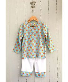 Frangipani Kids Ocean Odyssey Night Suit - Green And White