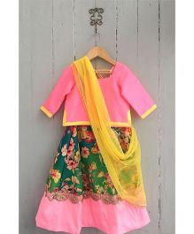Frangipani Floral Print Ghagra With Blouse - Pink Yellow Green