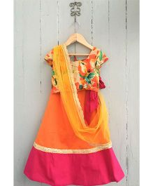 Frangipani Floral Print Ghagra With Blouse - Orange