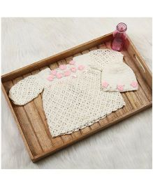 The Original Knit Crochet Flower & Pearl Accentuated Dress With Cap & Booties - Offwhite & Baby Pink