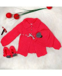 The Original Knit Ribbon Embellished Crochet Sweater Cap & Booties Set - Hot Pink