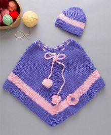 The Original Knit Crochet Flower Embellished Crochet Poncho & Cap - Lavender & Baby Pink
