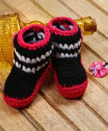 The Original Knit Colorful Crochet Booties - Black & Pink