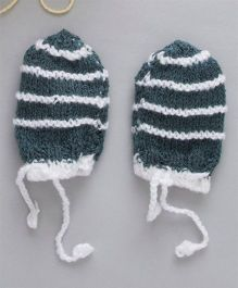 The Original Knit Striped Crochet Mittens - Dark Grey & White