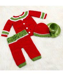The Original Knit Watermelon Crochet Sweater Cap & Pyjama Set - Red
