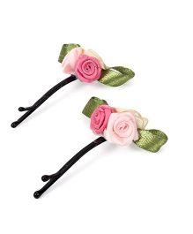 Funkrafts Set Of 2 Rose Hair Pins - Pink