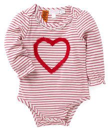 Pumpkin Patch Full Sleeves Striped Onesies With Heart Embroidered Design - Red & White