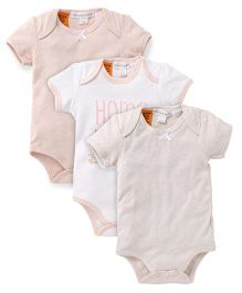 Pumpkin Patch Half Sleeves Onesies Pack of 3 - White