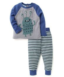 Pumpkin Patch Raglan Sleeves T-Shirt And Stripe Bottoms Monster Print - Blue Grey
