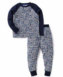 Pumpkin Patch Raglan Sleeves Printed T-Shirt And Pajama - Blue Grey