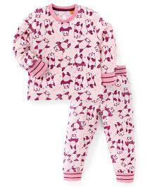 Pumpkin Patch Full Sleeves T-Shirt And Bottoms Panda Print - Light Pink