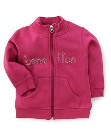 UCB Full Sleeves Sweatjacket Studded Detailing - Fuchsia