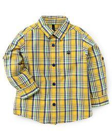 UCB Full Sleeves Check Shirt - Yellow Blue