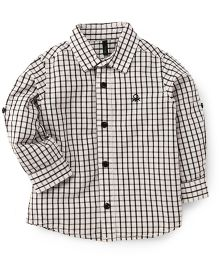 UCB Full Sleeves Checks Shirt - Black & White