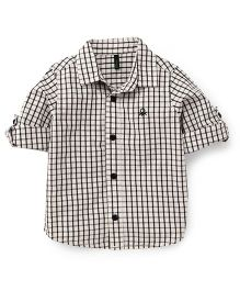 UCB Full Sleeves Check Shirt - White Black